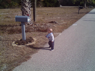Baby Walking To Mailbox