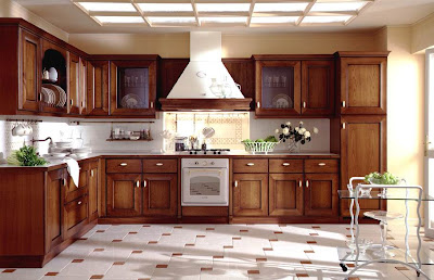 Open wooden kitchen with many cabinets