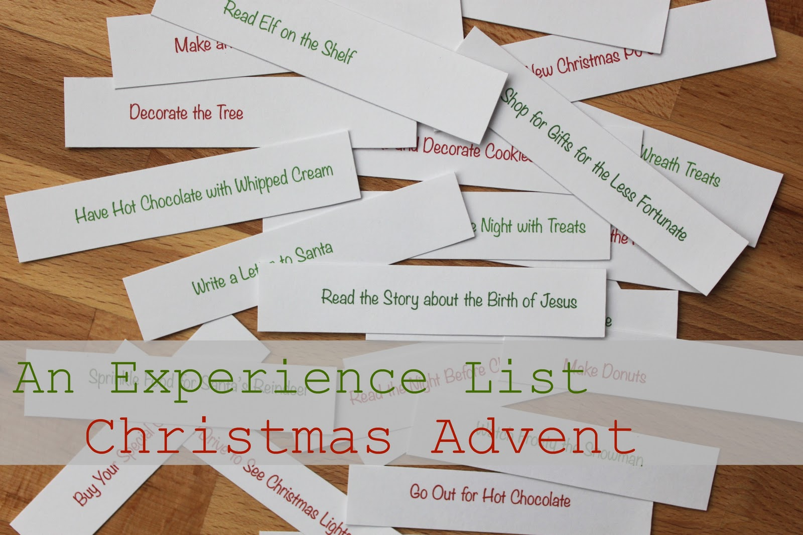 Free Printable Birthday List ~ An experience christmas advent free printable and recipe for
