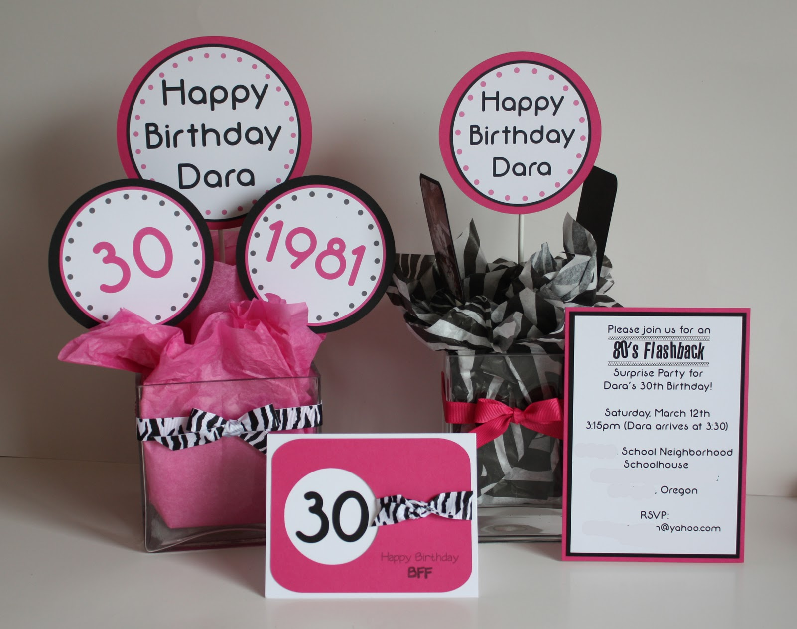 5M Creations: 80's Hot Pink and Zebra 30th Birthday Party
