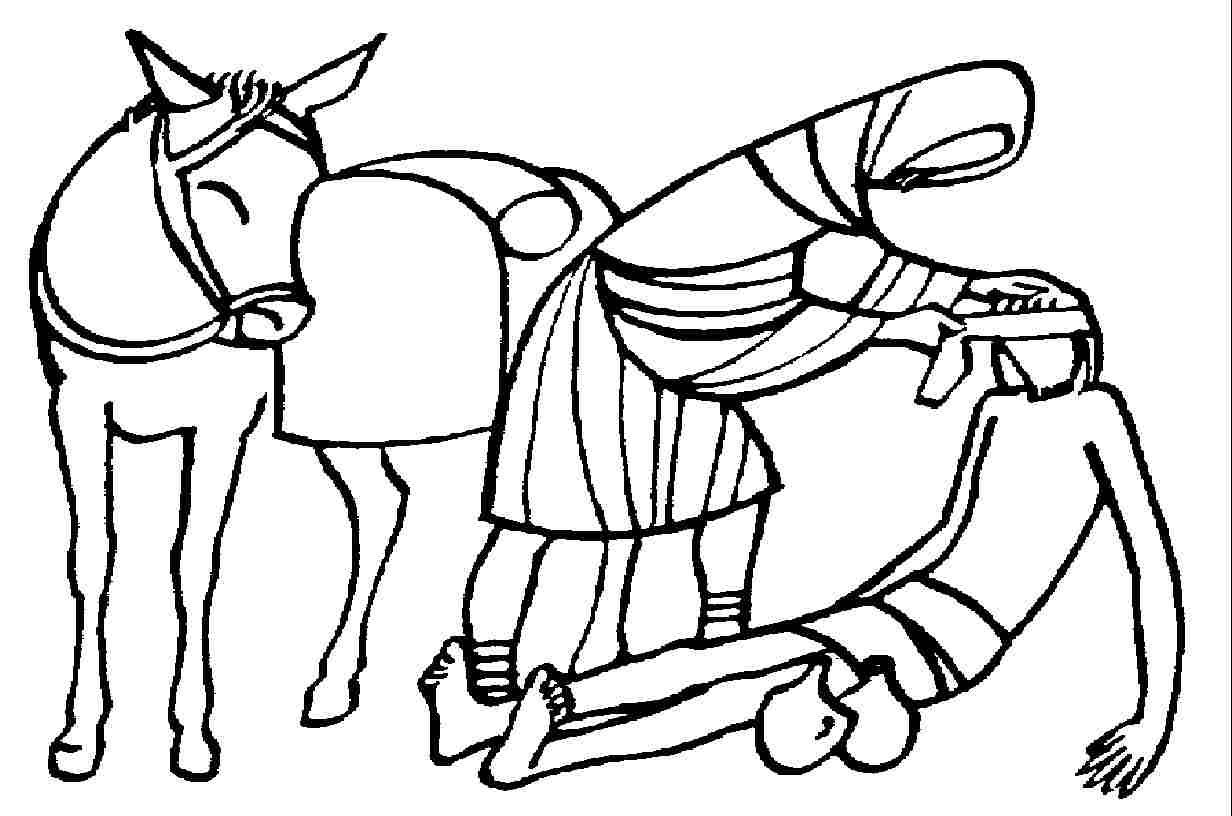 Parábola del Buen Samaritano para colorear ~ Dibujos Cristianos Para ...