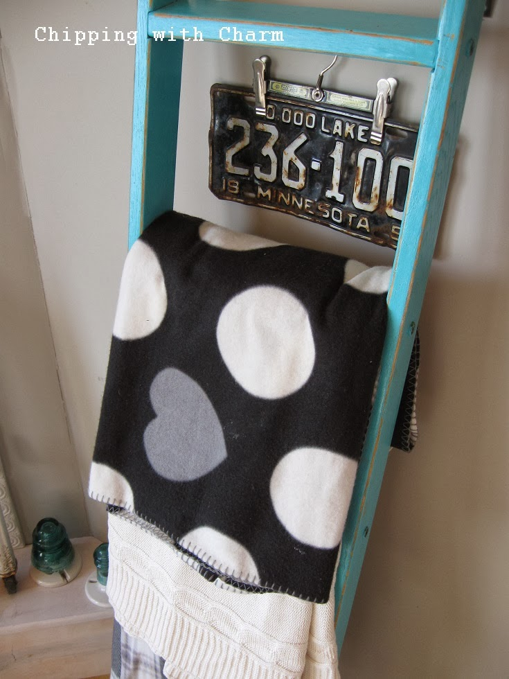Chipping with Charm:  Aqua Ladder for Blankets...http://www.chippingwithcharm.blogspot.com/
