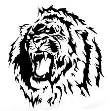 Motif Tato Singa Hitam Putih 7