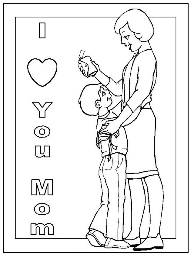 Hijo abrazando a mamá para colorear