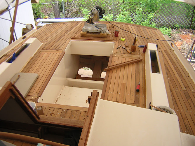 Installing Teak deck.