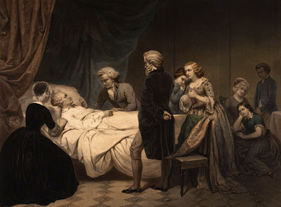 George Washington surrounded by friends on his deathbed