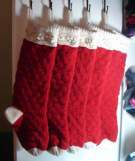 hand knit red stocking wool chunky Christmas cream