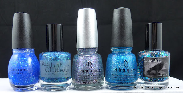 Blue Glitter nail polishes