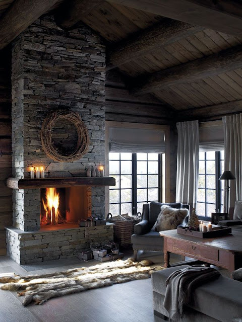 fireplace winter mountain cottage