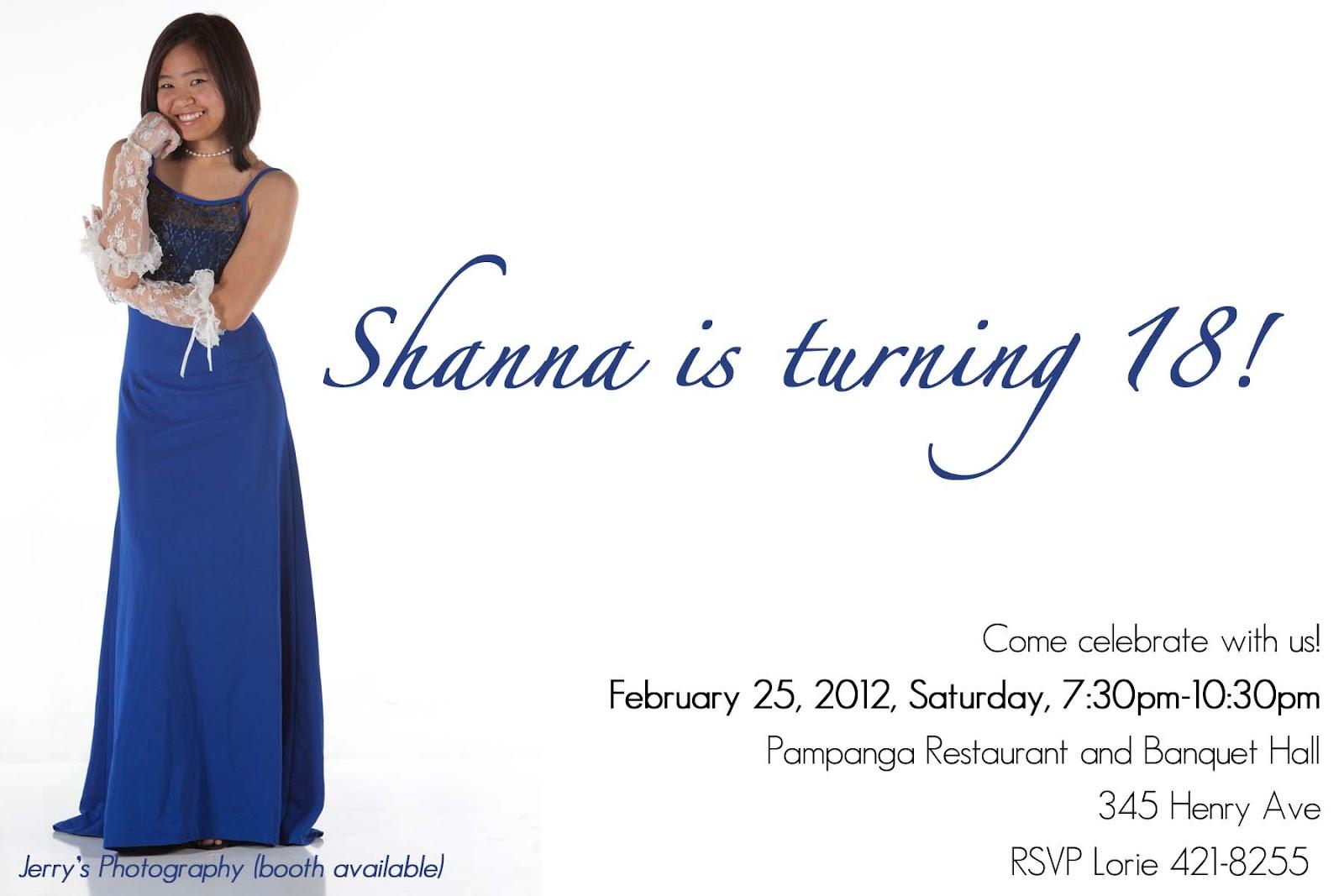 Mommy Designs: Shanna\'s 18th birthday invitation