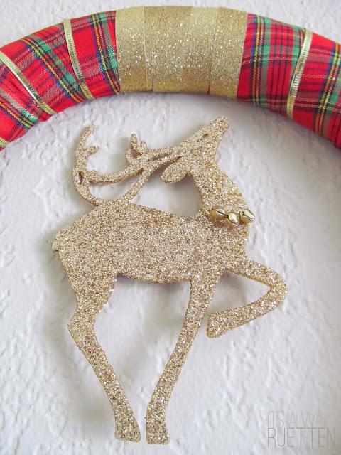 Dollar Tree Reindeer Wreath from It's Always Ruetten
