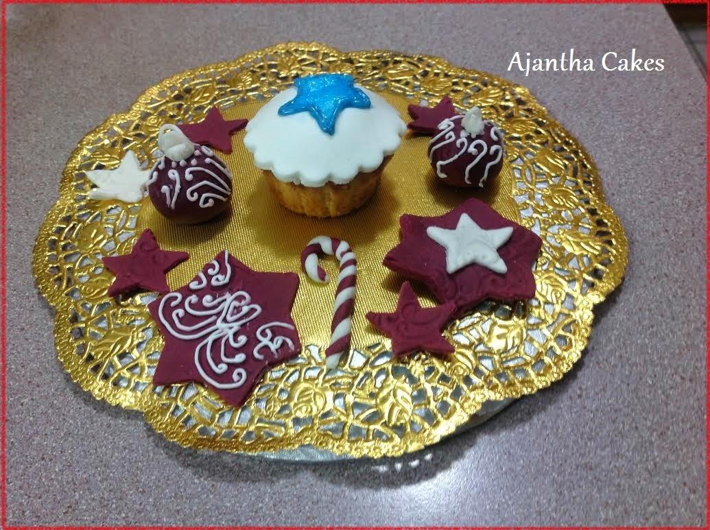 Ajantha Cakes/Christmas Cupcake & Fondant Oranaments