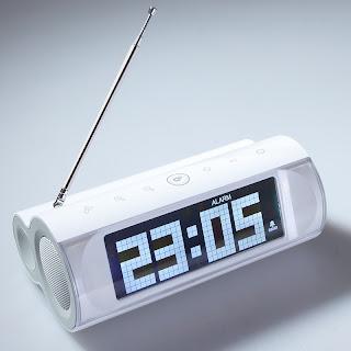 LCD Display Speaker FM Radio Alarm Clock 3.5mm Line-in F MP3 Mobile Laptop White