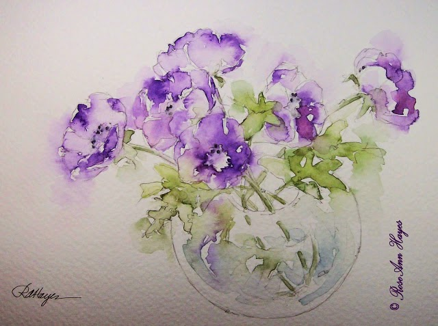 anemone bouquet watercolor by Rose Ann Hayes