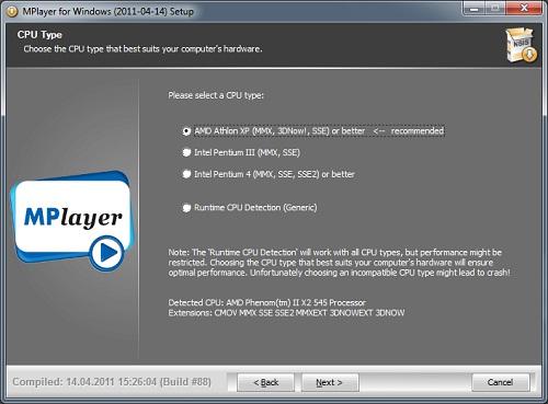 MPlayer cpu type