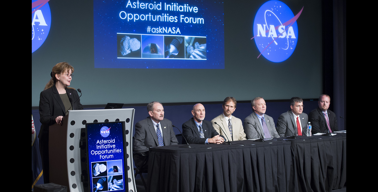Michele Gates of NASA Headquarters led the first panel on Asteroid Redirect Mission concept studies. Seated left to right: Lindley Johnson, Brian Muirhead, Dan Mazanek, Jim Reuter, Steve Stich, Jason Crusan. Image Credit: NASA