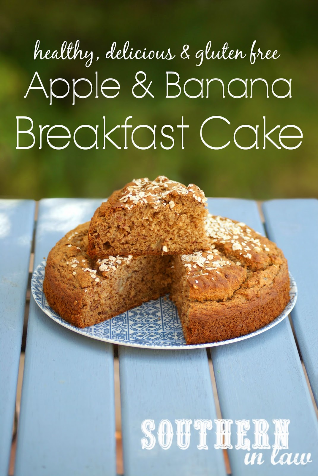 Healthy Apple and Banana Breakfast Cake - Gluten free, low fat, sugar free, clean eating friendly, dairy free