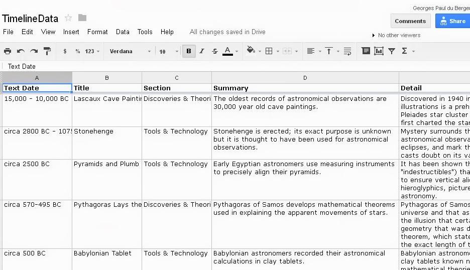 A Screenshot of an xls file I stored in Google Drive- CC GP duBerger