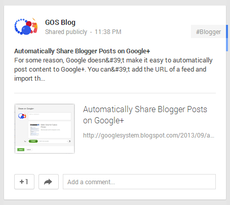 Automatically Share Blogger Posts Google+