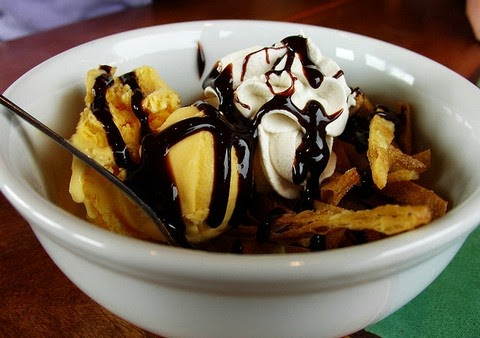 Ice Cream Sundae With Tortilla Chips & Chocolate Sauce