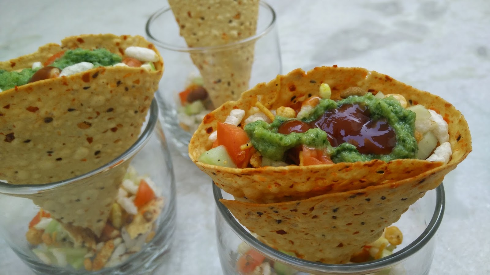 Masala Papad Cones Recipe Indian Snacks