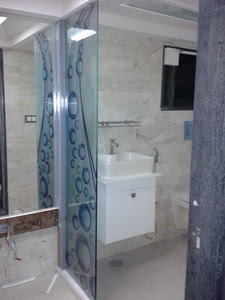 Residential Interior Graphic For Bathroom Glass Partition