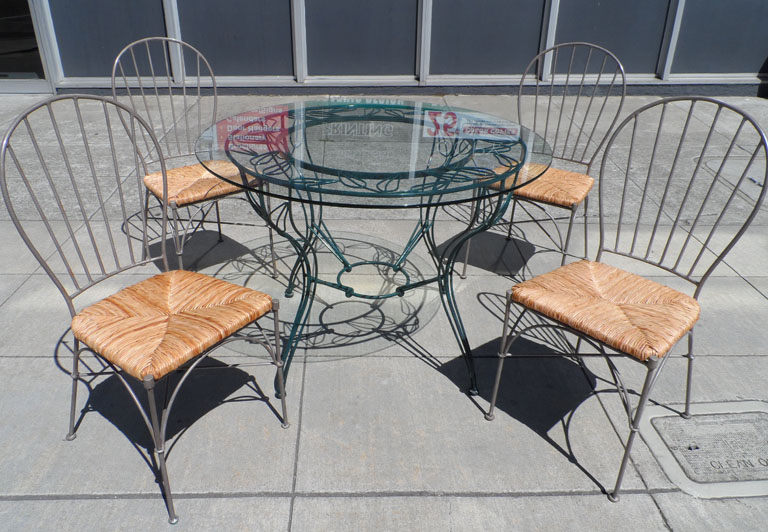 UHURU FURNITURE & COLLECTIBLES SOLD Iron Patio Table and 4 Chair Set