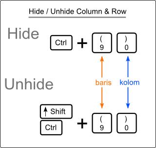 Kombinasi Key untuk Menampilkan dan Menyembunyikan Baris / Kolom