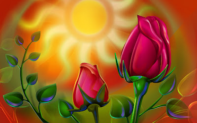 3D roses wallpapers - Colorful 3D Red Rose-wallpapers