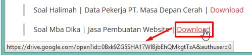 tampilan link pada browser