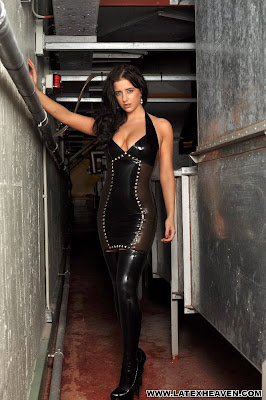 Coral May Hall Hot Brunette in Tight Transparent Latex Dress