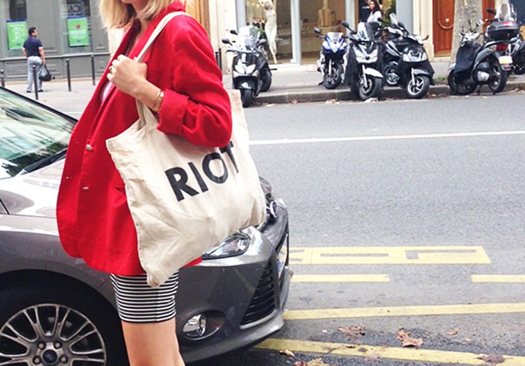 Ralph Lauren red linen blazer, Suburban Riot tote, striped mini skirt, street style