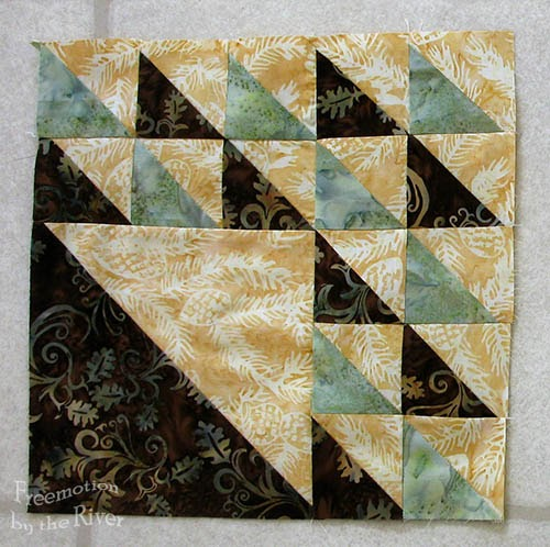 February Aurifil block in batik at Freemotion by the River