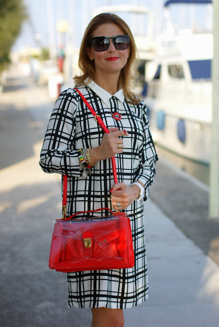 frontrowshop check dress, red marc by marc jacobs bag, Zara blazer, Fashion and Cookies, fashion blogger