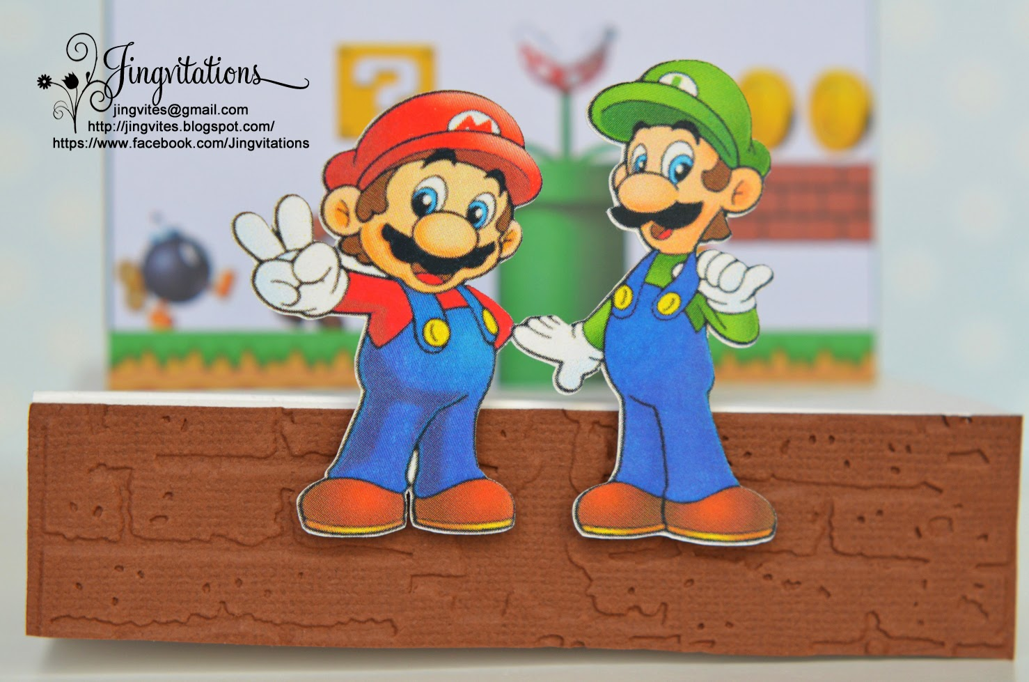 Jingvitations Nintendo Super Mario Bros and Luigi Birthday Invitations