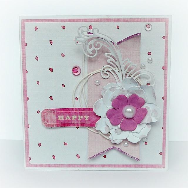 kartka z różowym kwiatkiem