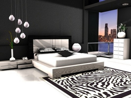 the shopping online: Chambre à coucher avec le thème noir et blanc