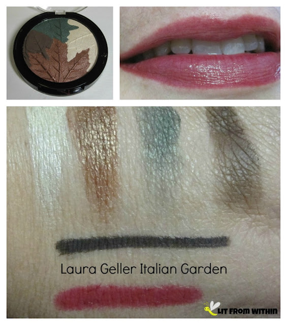swatches from the Laura Geller Italian Garden set