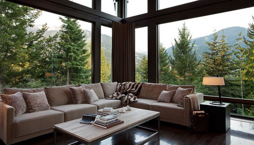 design ideas living room with a view of pine trees and mountain views