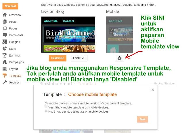 Paparan Blog melalui Mobile Template vs Responsive Template