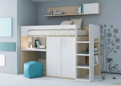 Habitaciones con la cama arriba del escritorio for Camas con cajones debajo