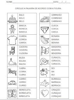 Atividade para a hipótese de escrita silábica alfabética. Circule a palavra - Alfabetização.
