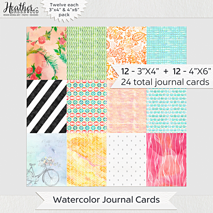 "Watercolor Pattern Pocket Journal Cards and Filler Cards for Pocket Scrapbooking and Journaling Bible | 3""x4"" and 4""x6"" Journal Cards by Heather Greenwood Designs"