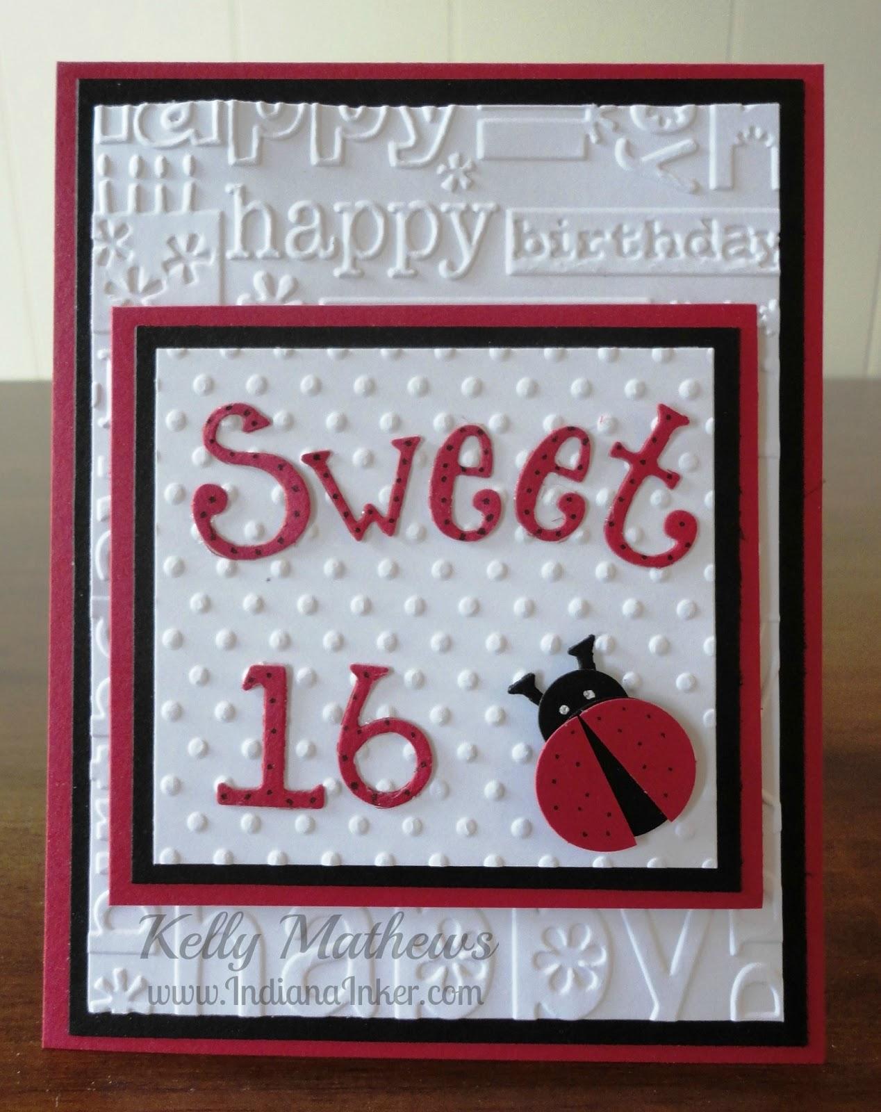 Indiana Inker Sweet 16 Ladybug Birthday Card