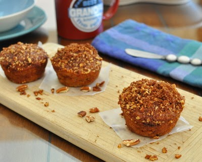 Banana Streusel Muffins, super-moist muffin, reduced sugar. | Weight Watchers PointsPlus 5 | KitchenParade.com
