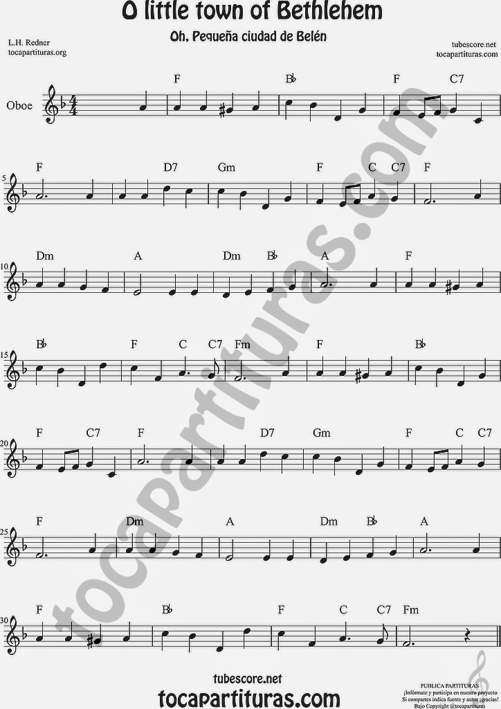 O little town of Bethlehem Partitura de Oboe Sheet Music for Oboe Music Score