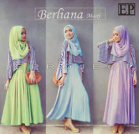 bahan spandex korea. (Maxi Dress + Outter Stripe Tgn pjg + Pasmina) fit to XL