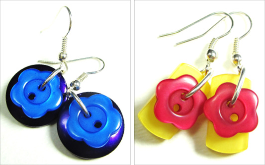 Cute earrings have flower buttons layered over colorful fashion buttons