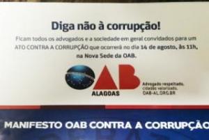 OAB de Alagoas lança manifesto contra Corrupção