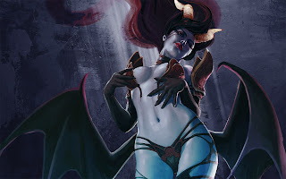 Queen of Pain DOTA 2 Girl Demon Horn Wings Sexy HD Wallpaper Desktop PC Background 1293